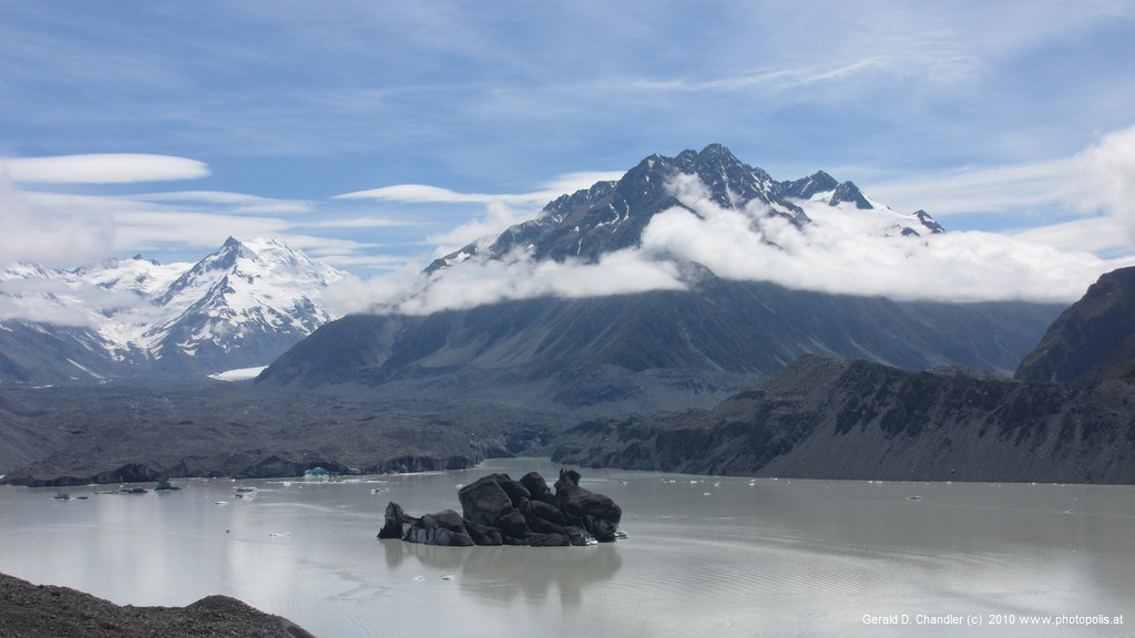 Tasman Glacier and lake with Mountains in Rear